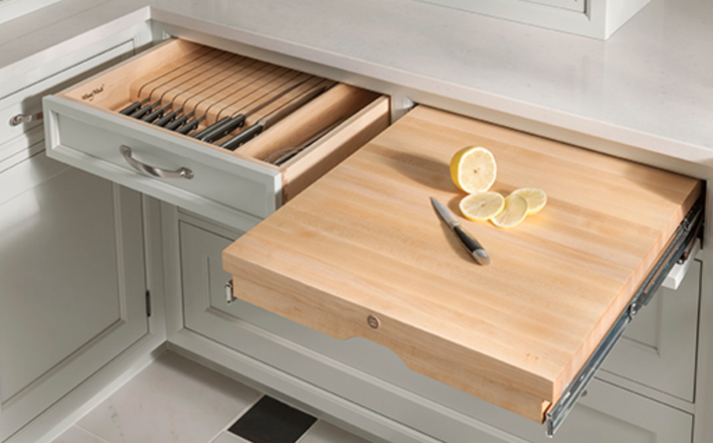 Wood-Mode Boorkhaven Knife Block Pull-Out Chopping Block Drawers