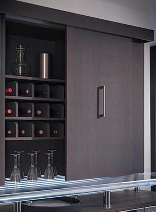 Lateral Bi-Pass Doors Wine and Glass Storage