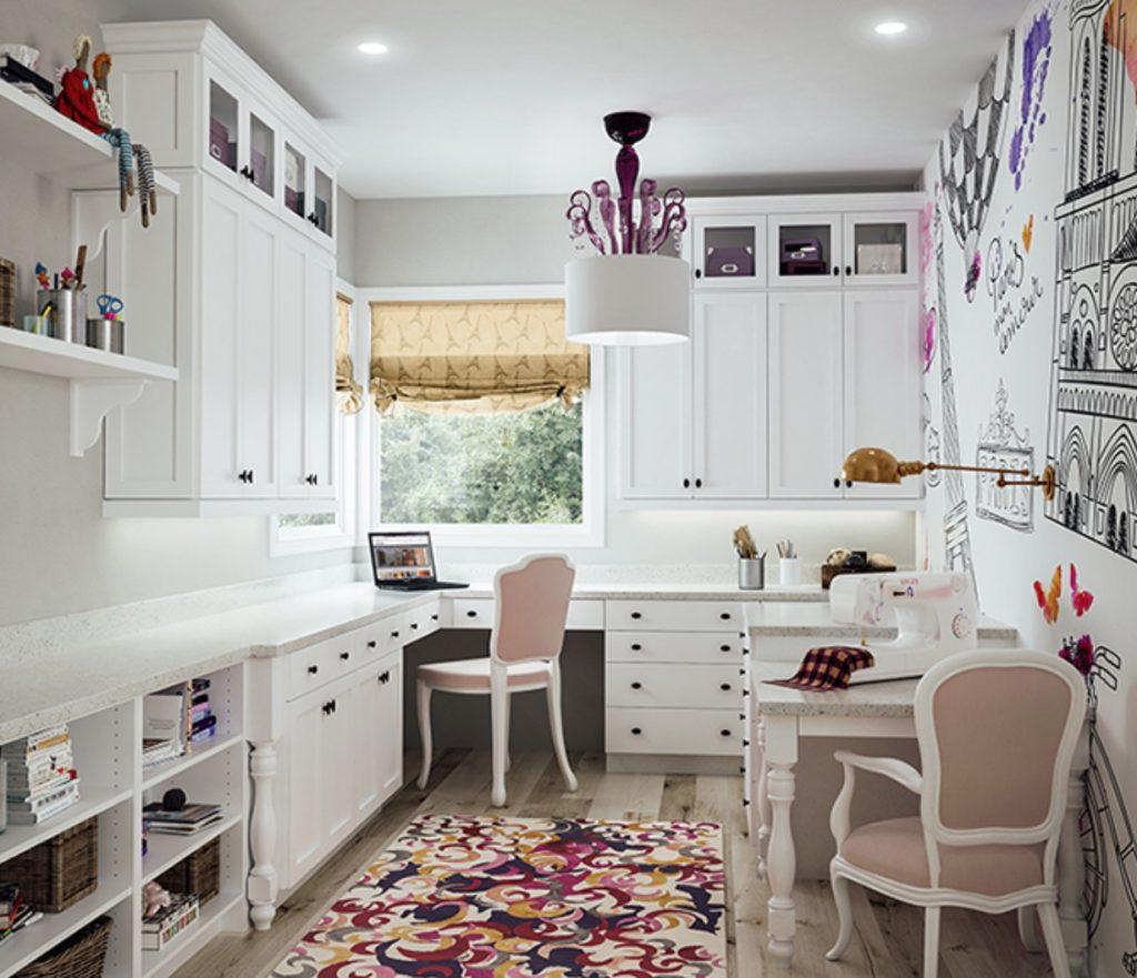 Katana frameless Cabinets in Caravel 918 Maple in White Paint